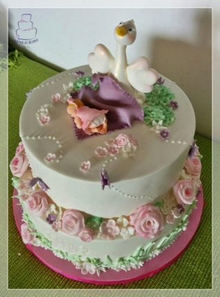 Tarta floral bautizo